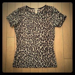 Animal leopard print sheer short sleeve top